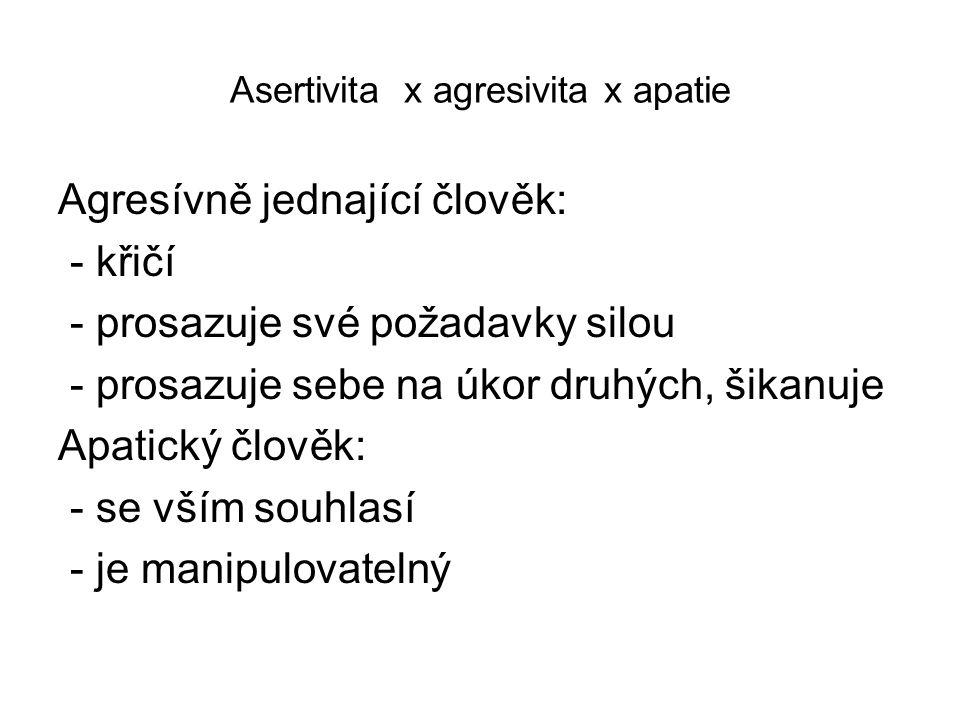 Asertivita x agresivita x apatie Agresívně jednající člověk: - křičí - prosazuje své požadavky silou - prosazuje sebe na úkor druhých, šikanuje Apatický člověk: - se vším souhlasí - je manipulovatelný