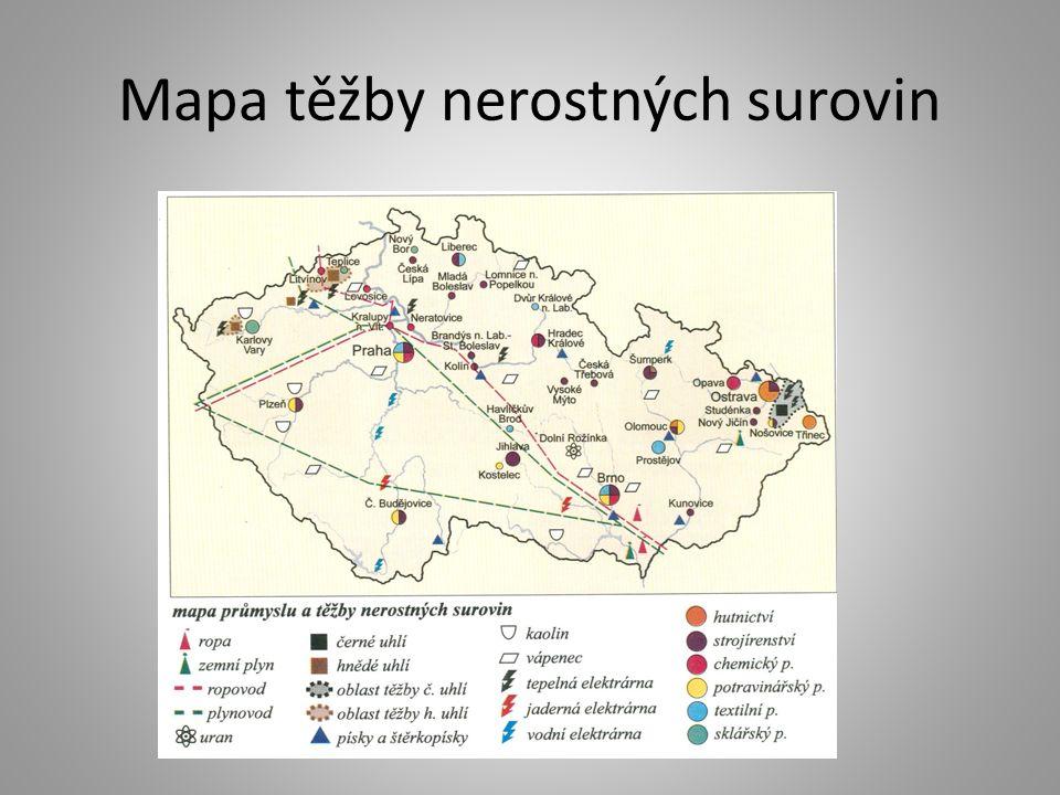 Mapa těžby nerostných surovin