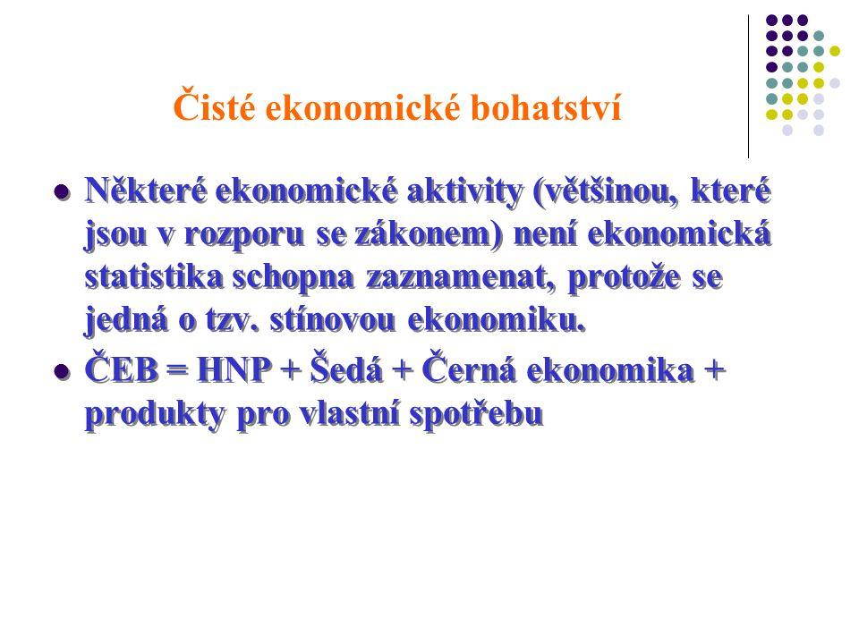 Čisté ekonomické bohatství Některé ekonomické aktivity (většinou, které jsou v rozporu se zákonem) není ekonomická statistika schopna zaznamenat, protože se jedná o tzv.