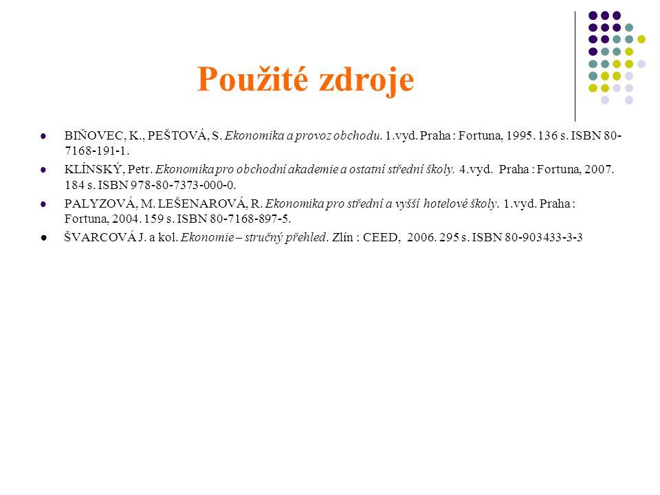 Použité zdroje BIŇOVEC, K., PEŠTOVÁ, S. Ekonomika a provoz obchodu.