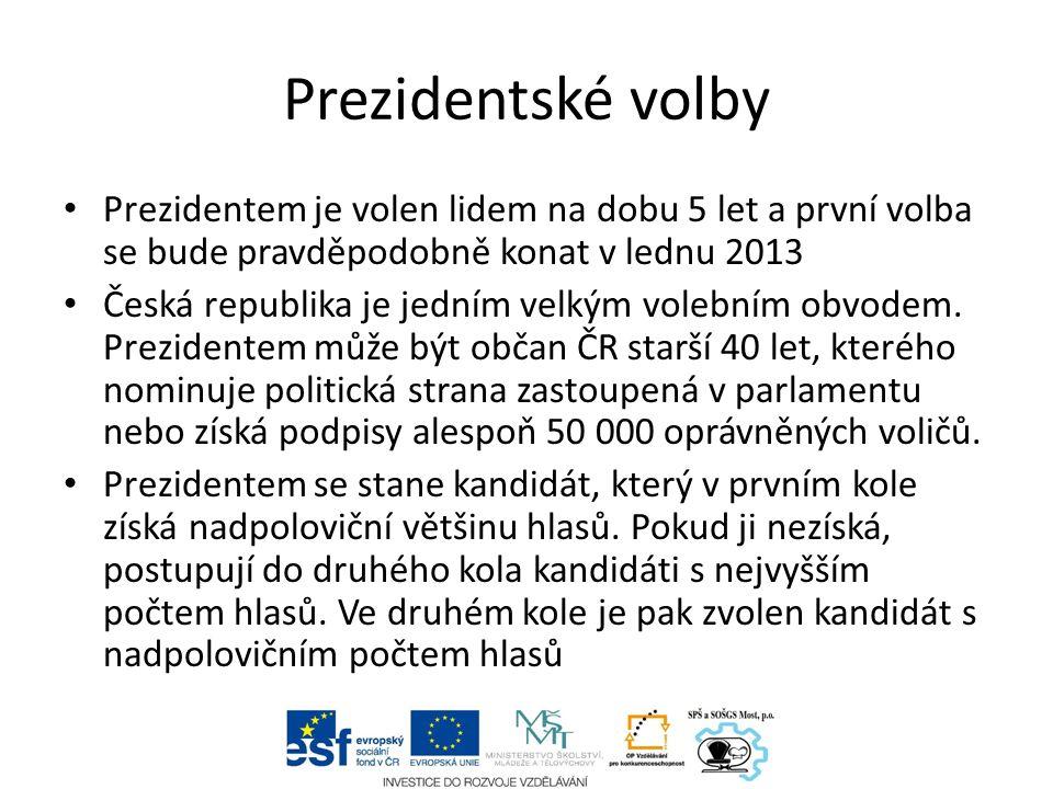 Prezidentské volby Prezidentem je volen lidem na dobu 5 let a první volba se bude pravděpodobně konat v lednu 2013 Česká republika je jedním velkým volebním obvodem.