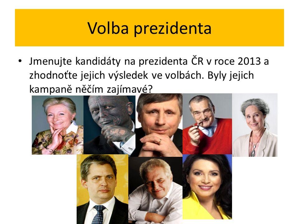 Volba prezidenta Jmenujte kandidáty na prezidenta ČR v roce 2013 a zhodnoťte jejich výsledek ve volbách.