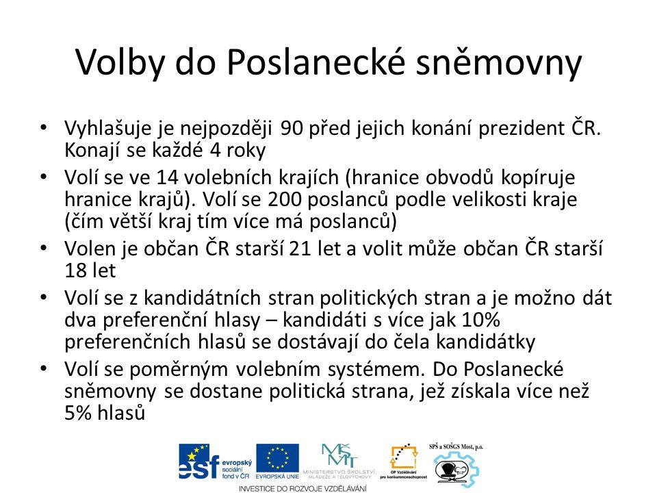 Volby do Poslanecké sněmovny Vyhlašuje je nejpozději 90 před jejich konání prezident ČR.