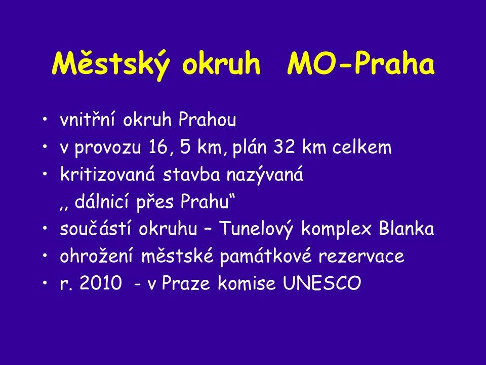 Městský okruh MO-Praha vnitřní okruh Prahou v provozu 16, 5 km, plán 32 km celkem kritizovaná stavba nazývaná,, dálnicí přes Prahu součástí okruhu – Tunelový komplex Blanka ohrožení městské památkové rezervace r.