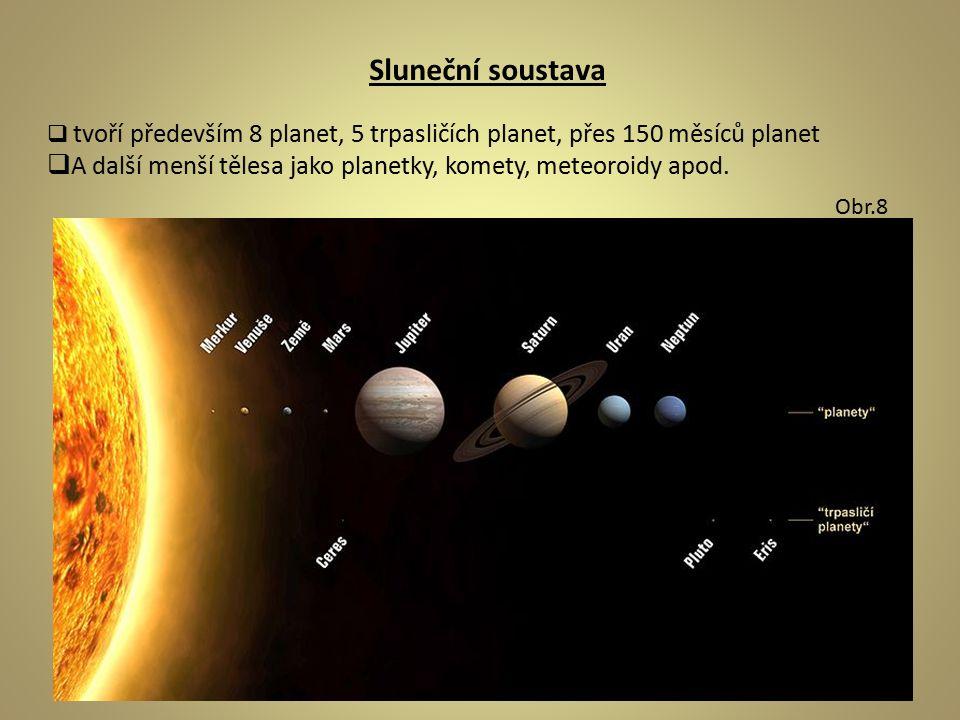Sluneční soustava  tvoří především 8 planet, 5 trpasličích planet, přes 150 měsíců planet  A další menší tělesa jako planetky, komety, meteoroidy apod.