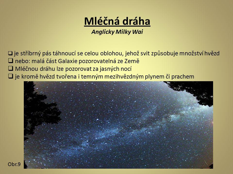 Mléčná dráha Anglicky Milky Wai  je stříbrný pás táhnoucí se celou oblohou, jehož svit způsobuje množství hvězd  nebo: malá část Galaxie pozorovatelná ze Země  Mléčnou dráhu lze pozorovat za jasných nocí  je kromě hvězd tvořena i temným mezihvězdným plynem či prachem Obr.9