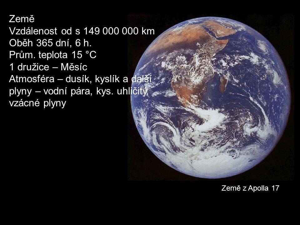 Země z Apolla 17 Země Vzdálenost od s 149 000 000 km Oběh 365 dní, 6 h. Prům. teplota 15 °C 1 družice – Měsíc Atmosféra – dusík, kyslík a další plyny