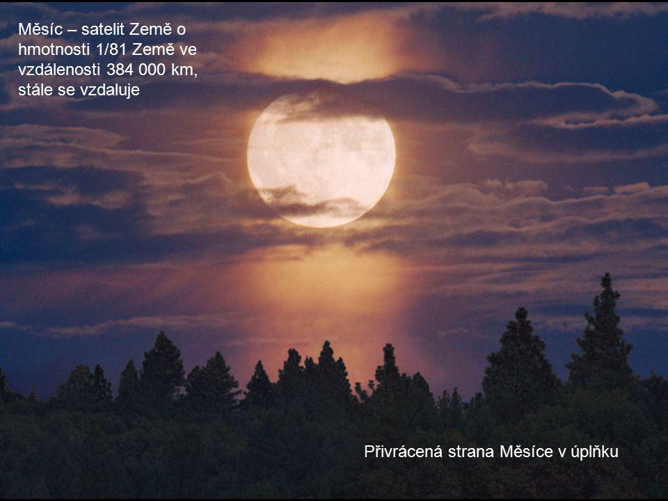 Přivrácená strana Měsíce v úplňku Měsíc – satelit Země o hmotnosti 1/81 Země ve vzdálenosti 384 000 km, stále se vzdaluje