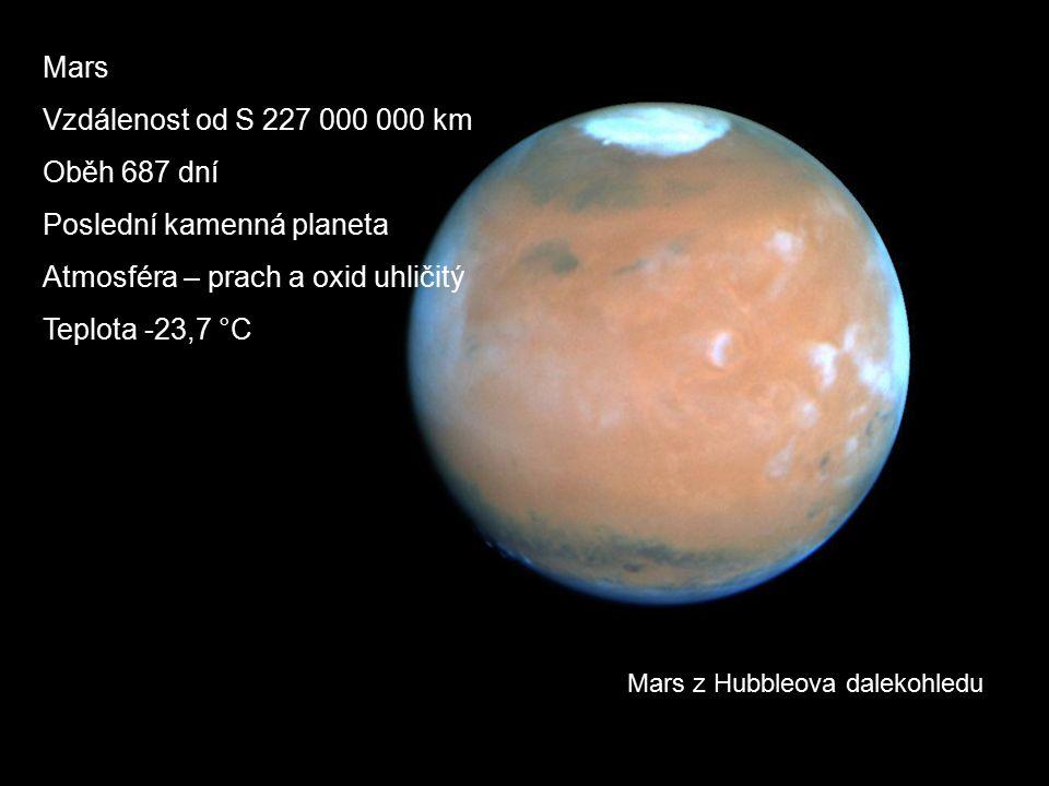 Mars z Hubbleova dalekohledu Mars Vzdálenost od S 227 000 000 km Oběh 687 dní Poslední kamenná planeta Atmosféra – prach a oxid uhličitý Teplota -23,7