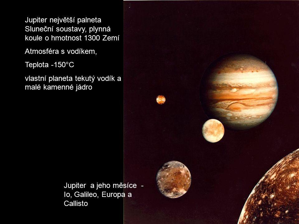 Jupiter a jeho měsíce - Io, Galileo, Europa a Callisto Jupiter největší palneta Sluneční soustavy, plynná koule o hmotnost 1300 Zemí Atmosféra s vodík