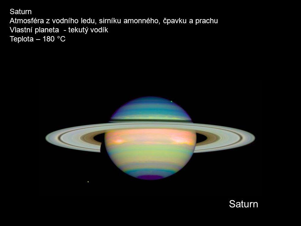Saturn Atmosféra z vodního ledu, sirníku amonného, čpavku a prachu Vlastní planeta - tekutý vodík Teplota – 180 °C