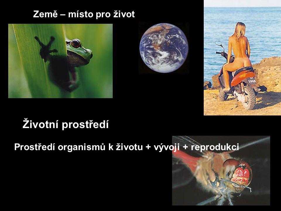 Země – místo pro život Životní prostředí Prostředí organismů k životu + vývoji + reprodukci