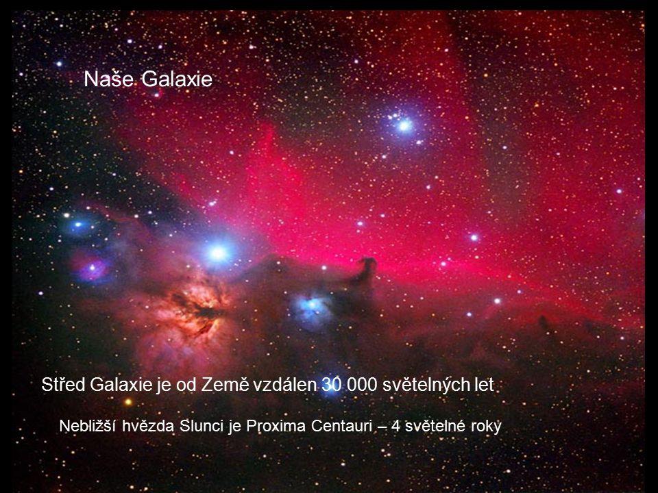 Nebližší hvězda Slunci je Proxima Centauri – 4 světelné roky Naše Galaxie Střed Galaxie je od Země vzdálen 30 000 světelných let