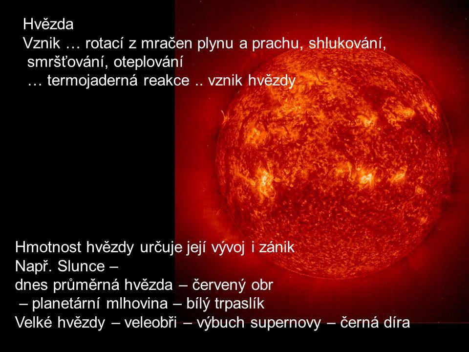 Hvězda Vznik … rotací z mračen plynu a prachu, shlukování, smršťování, oteplování … termojaderná reakce.. vznik hvězdy Hmotnost hvězdy určuje její výv