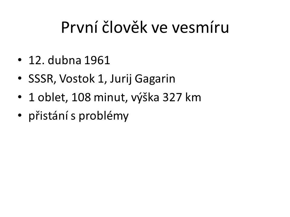 První člověk ve vesmíru 12. dubna 1961 SSSR, Vostok 1, Jurij Gagarin 1 oblet, 108 minut, výška 327 km přistání s problémy