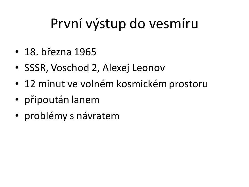 První výstup do vesmíru 18. března 1965 SSSR, Voschod 2, Alexej Leonov 12 minut ve volném kosmickém prostoru připoután lanem problémy s návratem