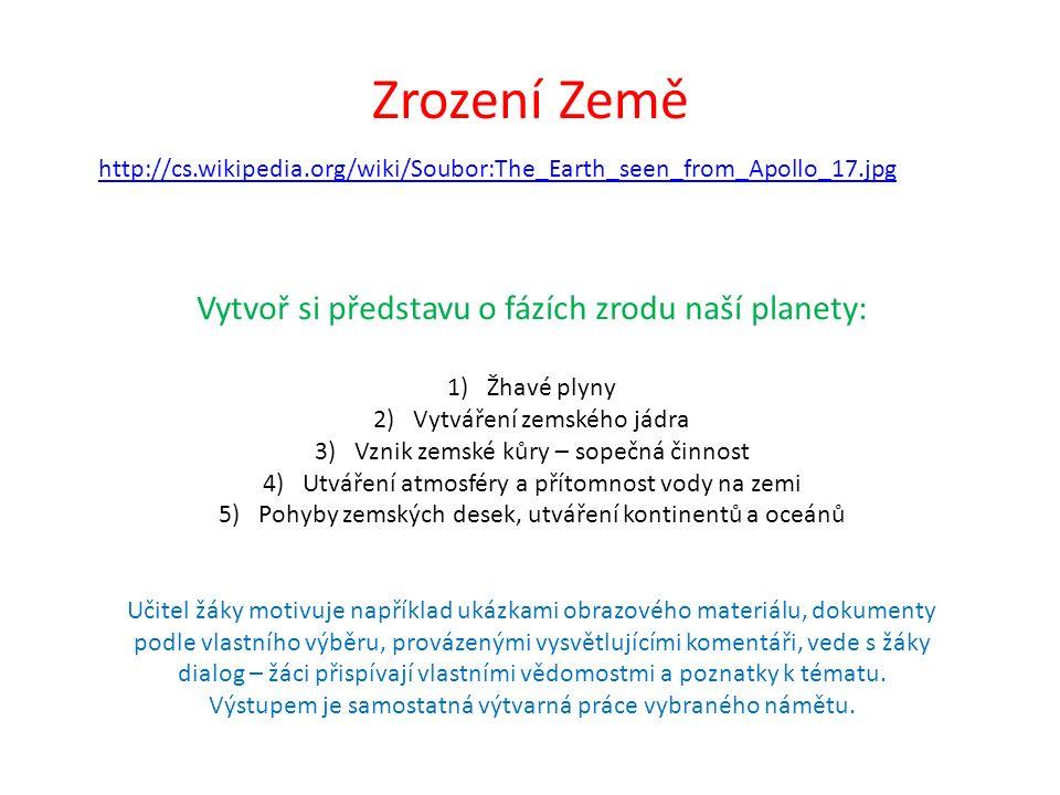 Zrození Země http://cs.wikipedia.org/wiki/Soubor:The_Earth_seen_from_Apollo_17.jpg Vytvoř si představu o fázích zrodu naší planety: 1)Žhavé plyny 2)Vy