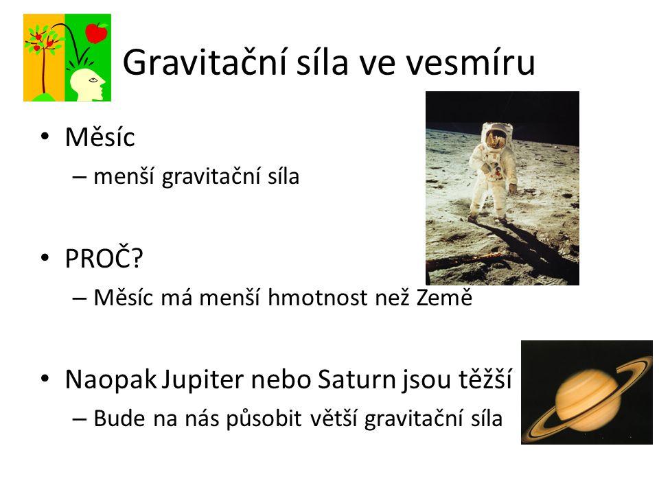 Gravitační síla ve vesmíru Měsíc – menší gravitační síla PROČ.