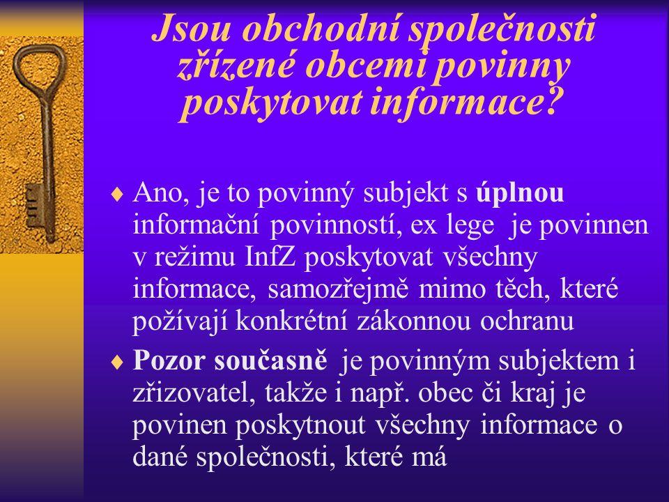 Jsou obchodní společnosti zřízené obcemi povinny poskytovat informace.