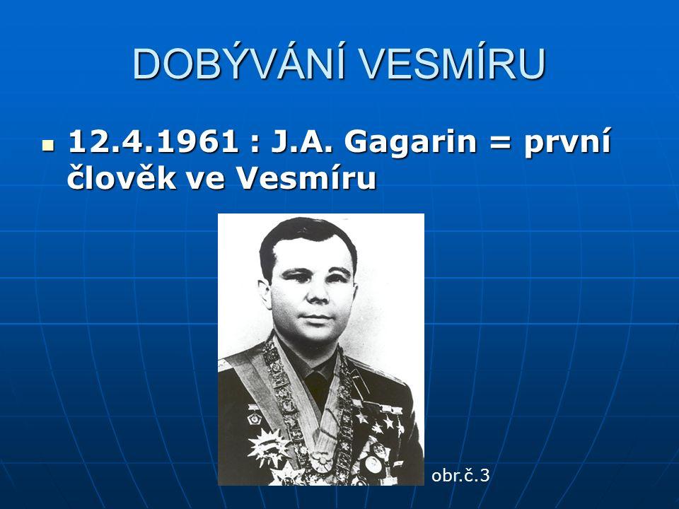 DOBÝVÁNÍ VESMÍRU 12.4.1961 : J.A. Gagarin = první člověk ve Vesmíru 12.4.1961 : J.A.