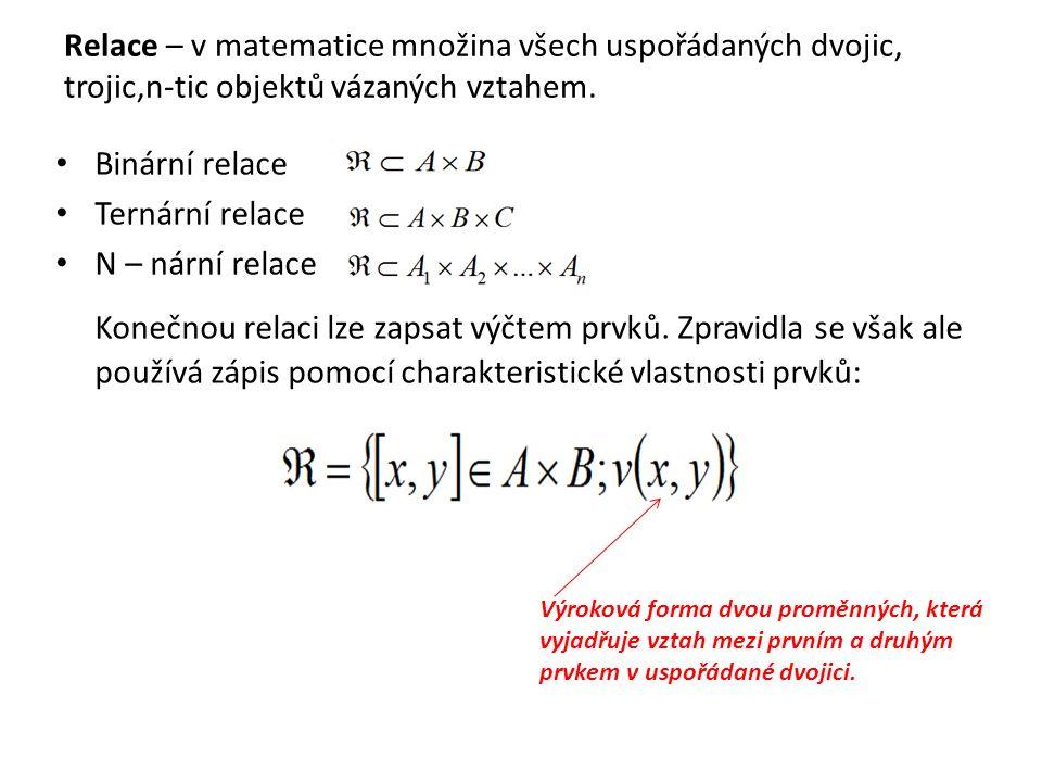Relace – v matematice množina všech uspořádaných dvojic, trojic,n-tic objektů vázaných vztahem. Binární relace Ternární relace N – nární relace Konečn