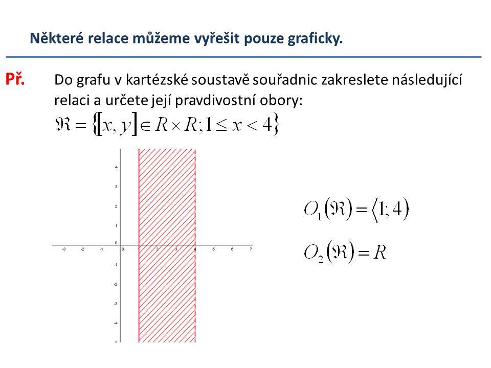 Některé relace můžeme vyřešit pouze graficky. Př. Do grafu v kartézské soustavě souřadnic zakreslete následující relaci a určete její pravdivostní obo