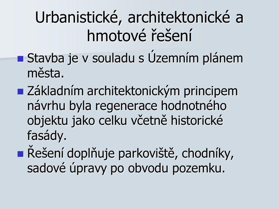 Urbanistické, architektonické a hmotové řešení Stavba je v souladu s Územním plánem města.