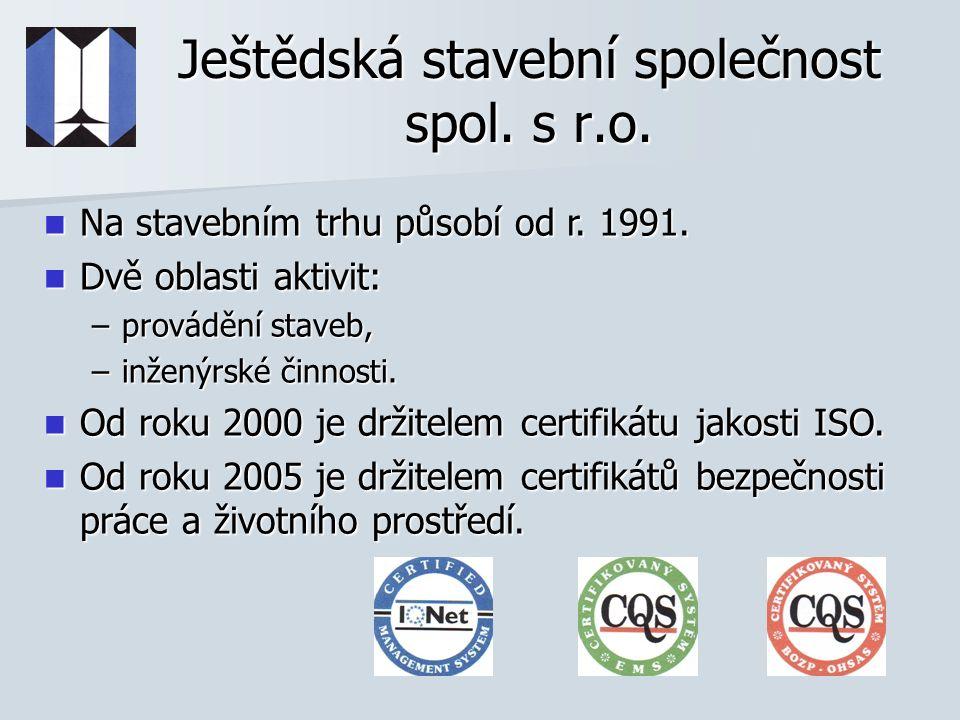 Ještědská stavební společnost spol.s r.o. Na stavebním trhu působí od r.