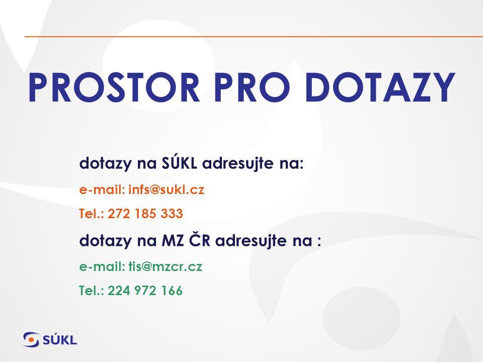 PROSTOR PRO DOTAZY dotazy na SÚKL adresujte na: e-mail: infs@sukl.cz Tel.: 272 185 333 dotazy na MZ ČR adresujte na : e-mail: tis@mzcr.cz Tel.: 224 972 166
