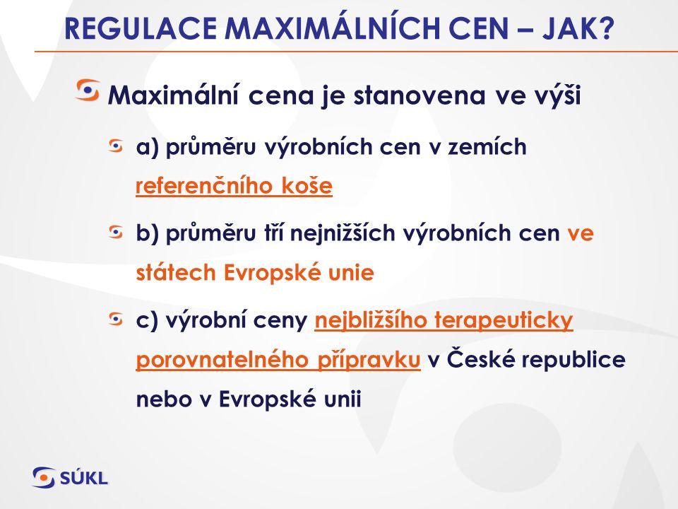 REGULACE MAXIMÁLNÍCH CEN LP – JAK.zastoupení regulačních principů §39a odst.