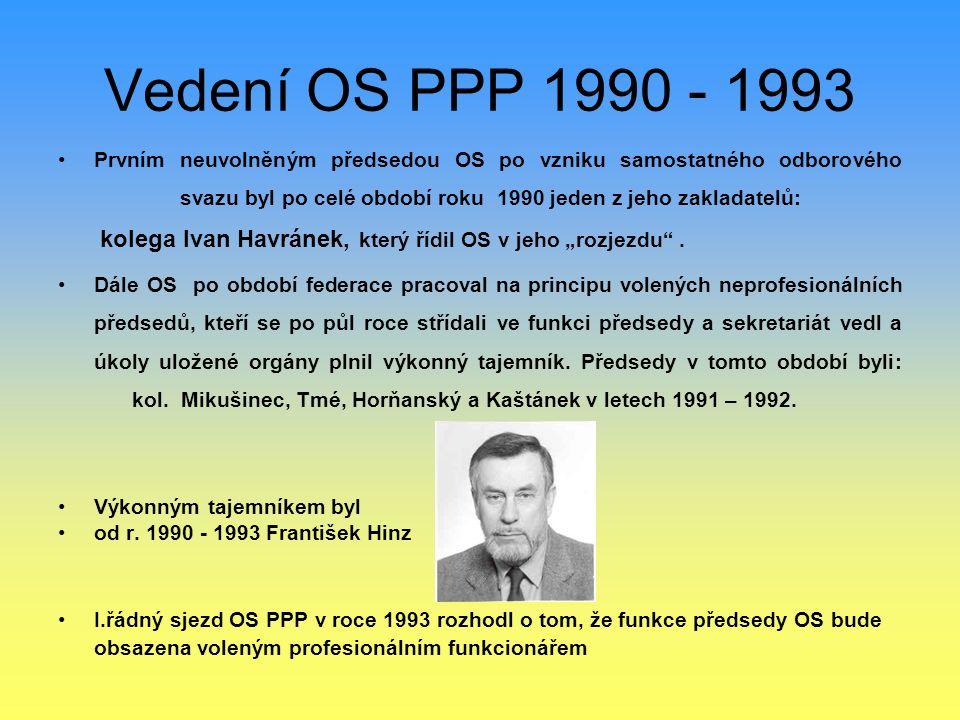 Vedení OS PPP 1990 - 1993 Prvním neuvolněným předsedou OS po vzniku samostatného odborového svazu byl po celé období roku 1990 jeden z jeho zakladatel