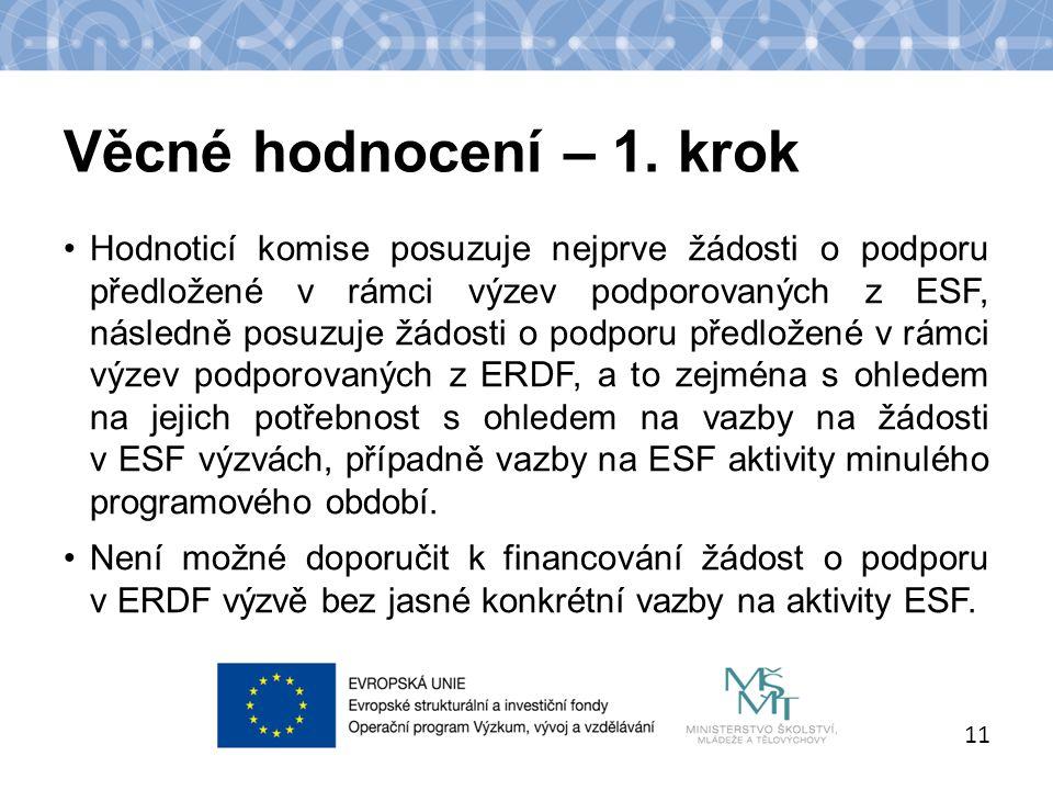 Název kapitoly Název podkapitoly Text 11 Hodnoticí komise posuzuje nejprve žádosti o podporu předložené v rámci výzev podporovaných z ESF, následně posuzuje žádosti o podporu předložené v rámci výzev podporovaných z ERDF, a to zejména s ohledem na jejich potřebnost s ohledem na vazby na žádosti v ESF výzvách, případně vazby na ESF aktivity minulého programového období.
