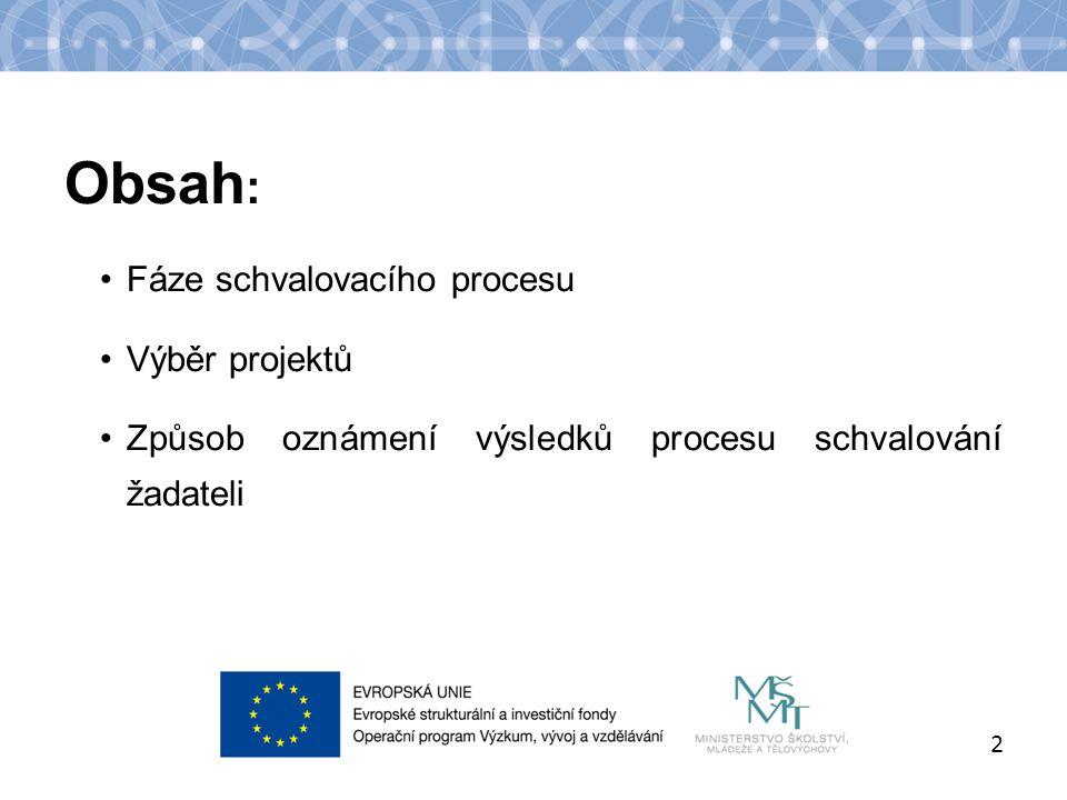 Název kapitoly Název podkapitoly Text Obsah : Fáze schvalovacího procesu Výběr projektů Způsob oznámení výsledků procesu schvalování žadateli 2
