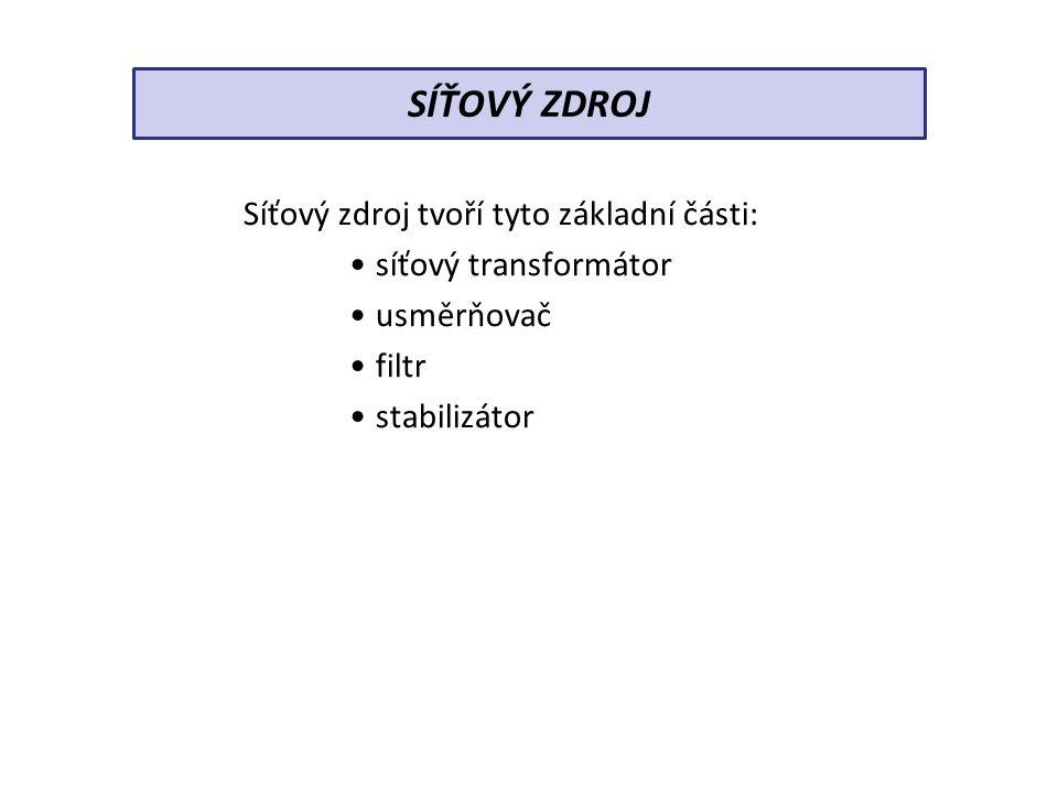 Síťový zdroj tvoří tyto základní části: síťový transformátor usměrňovač filtr stabilizátor SÍŤOVÝ ZDROJ
