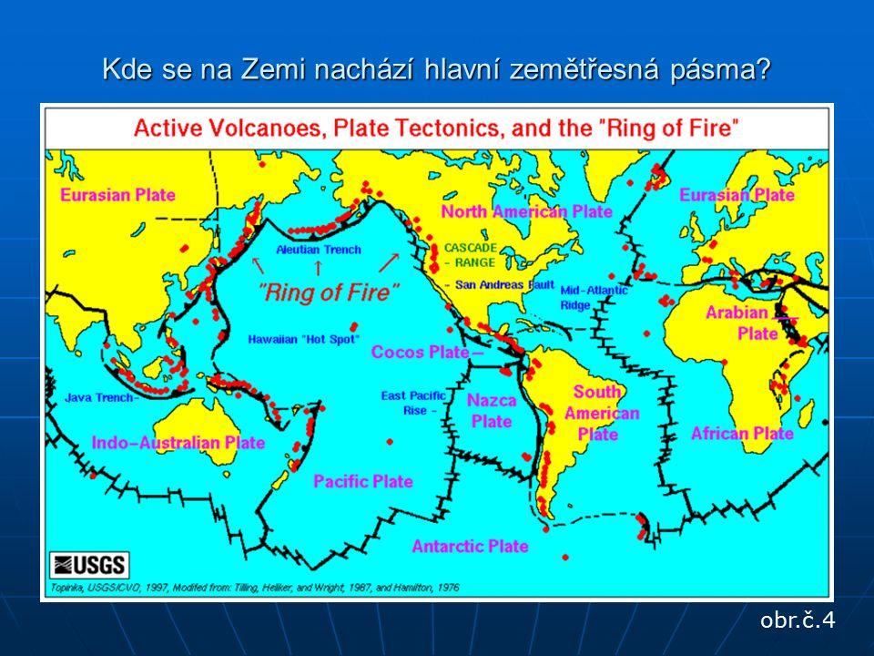 Kde se na Zemi nachází hlavní zemětřesná pásma obr.č.4