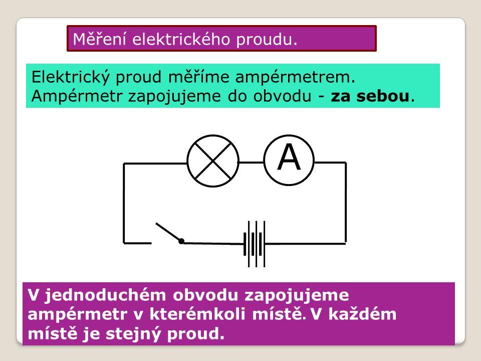 A Měření elektrického proudu. Elektrický proud měříme ampérmetrem.