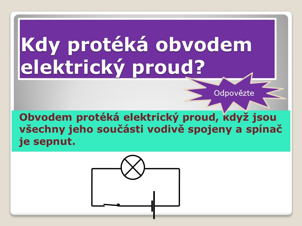 Elektrický proud protéká od kladného pólu baterie obvodem k zápornému pólu.