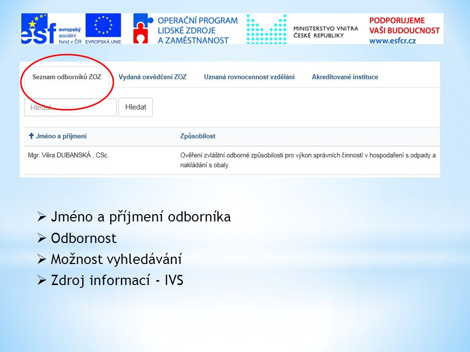  Jméno a příjmení odborníka  Odbornost  Možnost vyhledávání  Zdroj informací - IVS