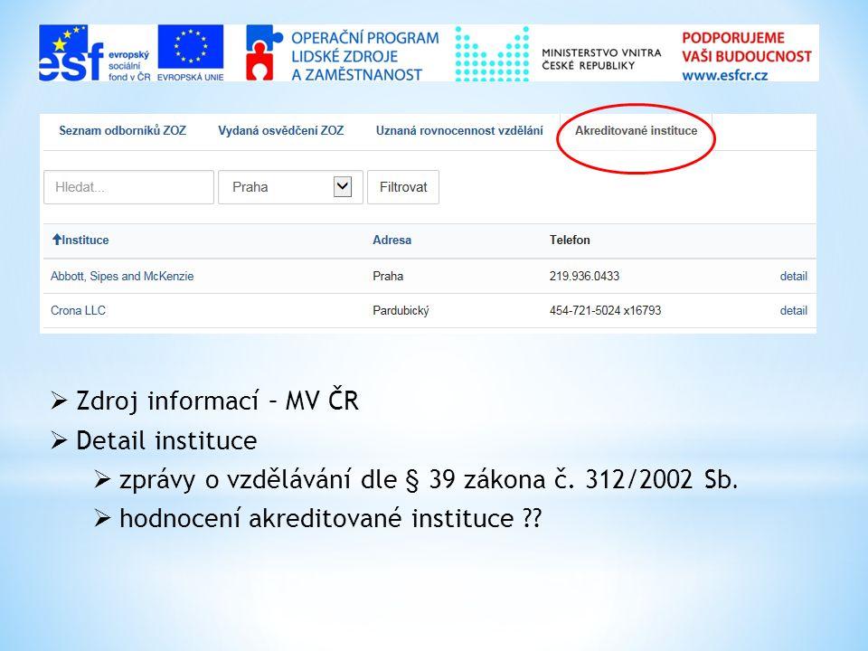  Zdroj informací – MV ČR  Detail instituce  zprávy o vzdělávání dle § 39 zákona č. 312/2002 Sb.  hodnocení akreditované instituce ??