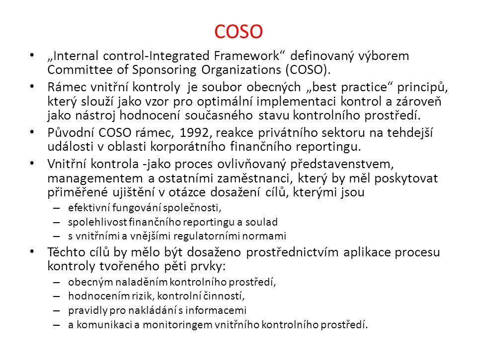 """COSO """"Internal control-Integrated Framework"""" definovaný výborem Committee of Sponsoring Organizations (COSO). Rámec vnitřní kontroly je soubor obecnýc"""