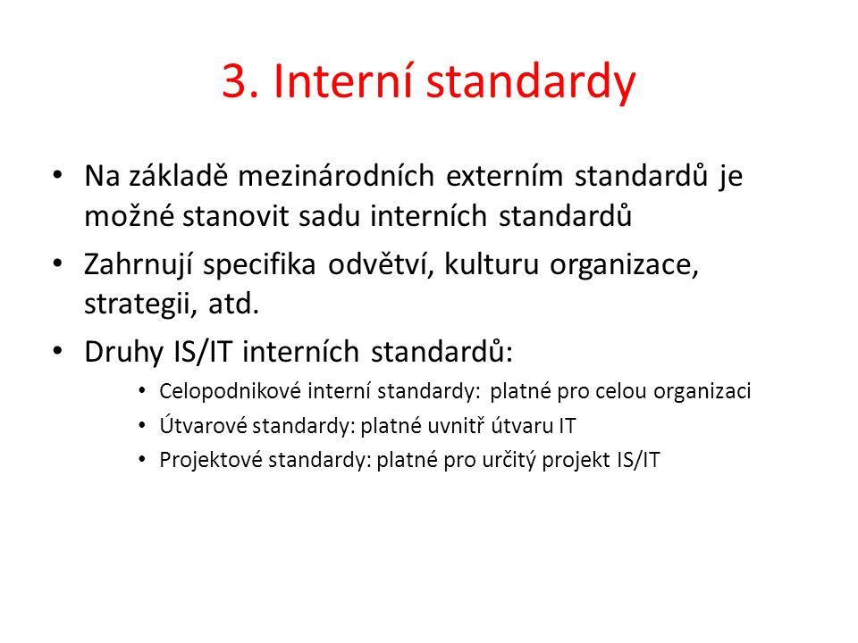 3. Interní standardy Na základě mezinárodních externím standardů je možné stanovit sadu interních standardů Zahrnují specifika odvětví, kulturu organi