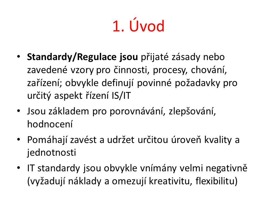 1. Úvod Standardy/Regulace jsou přijaté zásady nebo zavedené vzory pro činnosti, procesy, chování, zařízení; obvykle definují povinné požadavky pro ur