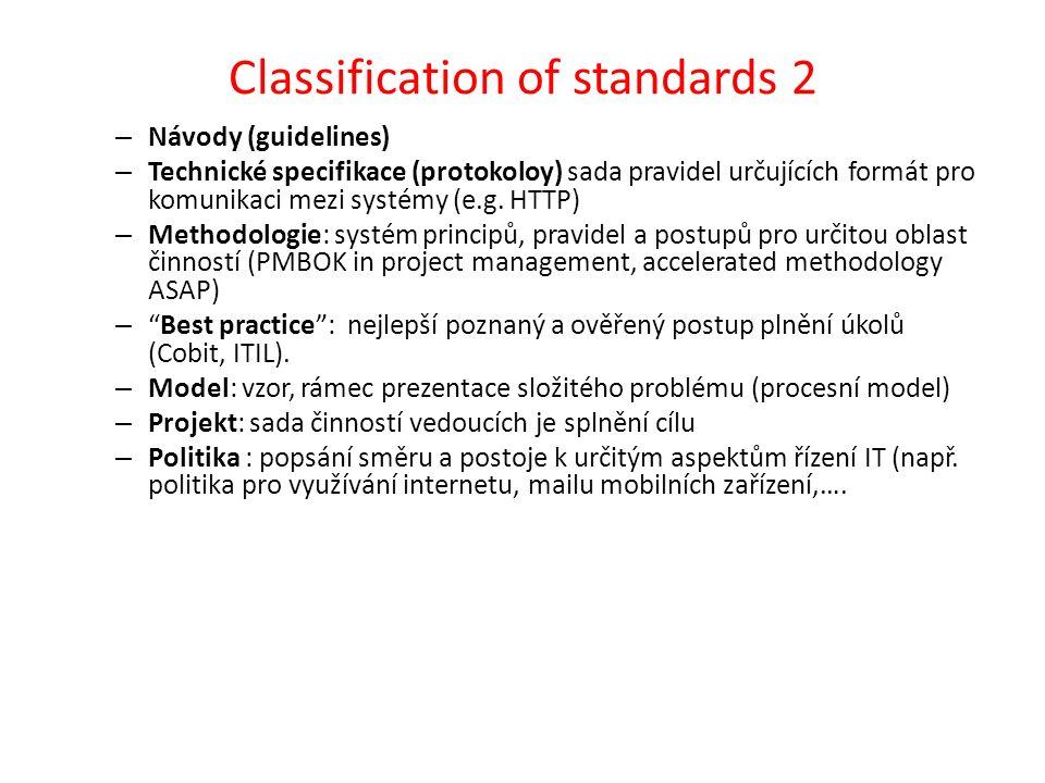Klasifikace standardů 3 Aspekt předmětu: – IT/IS řídící standardy – Auditní standardy – Standardy kvality – Standardy bezpečnosti – Komunikační standardy,…..