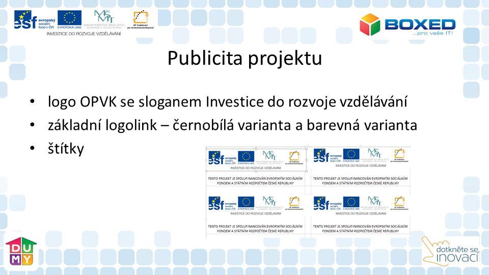 Publicita projektu logo OPVK se sloganem Investice do rozvoje vzdělávání základní logolink – černobílá varianta a barevná varianta štítky