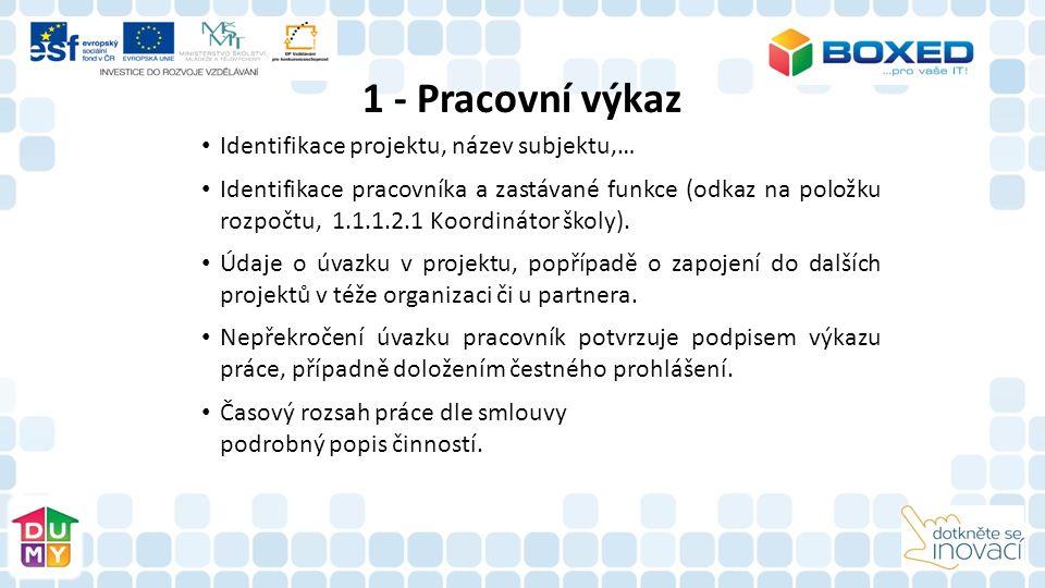 Identifikace projektu, název subjektu,… Identifikace pracovníka a zastávané funkce (odkaz na položku rozpočtu, 1.1.1.2.1 Koordinátor školy). Údaje o ú