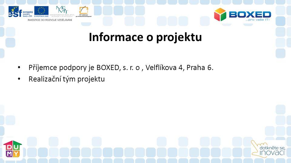 Informace o projektu Příjemce podpory je BOXED, s. r. o, Velflíkova 4, Praha 6. Realizační tým projektu