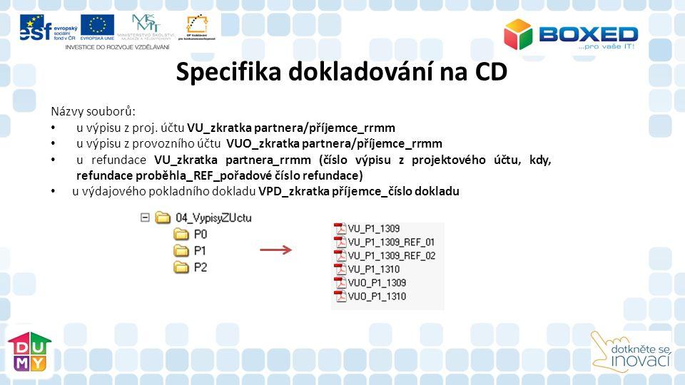Názvy souborů: u výpisu z proj. účtu VU_zkratka partnera/příjemce_rrmm u výpisu z provozního účtu VUO_zkratka partnera/příjemce_rrmm u refundace VU_zk