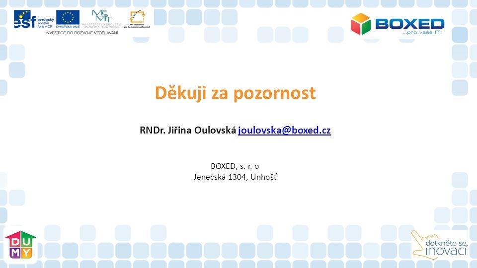 Děkuji za pozornost RNDr. Jiřina Oulovská joulovska@boxed.czjoulovska@boxed.cz BOXED, s. r. o Jenečská 1304, Unhošť