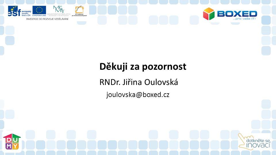 Děkuji za pozornost RNDr. Jiřina Oulovská joulovska@boxed.cz