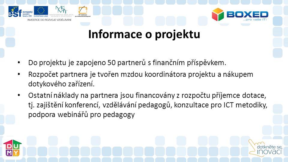 Informace o projektu Cílem projektu je: zvýšení profesních a osobnostních kompetencí vedoucích pracovníků a pedagogických pracovníků v oblasti využití ICT ve výuce zvýšení a zkvalitnění využití ICT prostředků a technologií ve výuce na ZŠ a SS zvýšení metodické a technické podpory pedagogických pracovníků